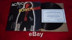 AC/DC Hand Signed Powerage US 1st Press LP Vinyl Record OOP x 5 with BON & COA