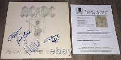 AC/DC SIGNED FLICK OF THE SWITCH VINYL ALBUM ANGUS YOUNG +3 with BECKETT BAS LOA