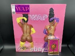 Cardi B & Megan Thee Stallion WAP lot of 2 Vinyl Records Autographed Pink Purple