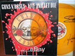 Guns N' Roses, Live And Let Die, Mega Rare, Fully Signed Vinyl 12 Single