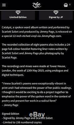 Jimmy Page SIGNED Catalyst LP Vinyl Scarlett Sabet Led Zeppelin RARE NUMBERED 25