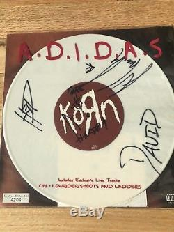 Korn Autographed Limited Edition Numbered White Vinyl Adidas Single