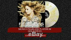 New Taylor Swift Signed LP Fearless Platinum Edition Gold Vinyl Record Store Day