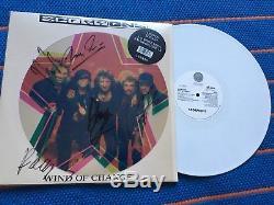 Scorpions Autographed LP 12 Wind Of Change 3D White Vinyl Kaleidscope Blackout