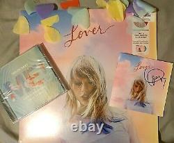 TAYLOR SWIFT Lover Pink & Blue Vinyl LP Autographed signed CD Bundle ME