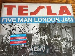 Tesla Five Man London Jam Colored Double LP Vinyl SIGNED AUTOGRAPHED